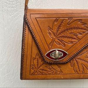 Vintage Tan Leaf Embossed Box Bag